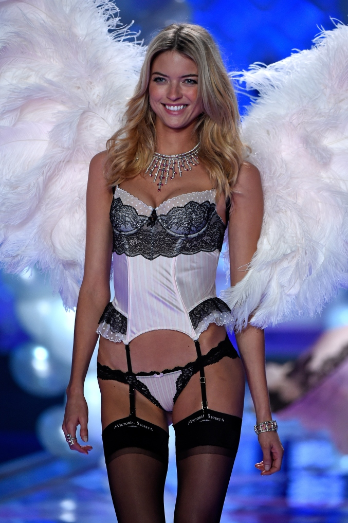 LONDON, ENGLAND - DECEMBER 02: Model Martha Hunt walks the runway at the annual Victoria's Secret fashion show at Earls Court on December 2, 2014 in London, England. (Photo by Pascal Le Segretain/Getty Images)